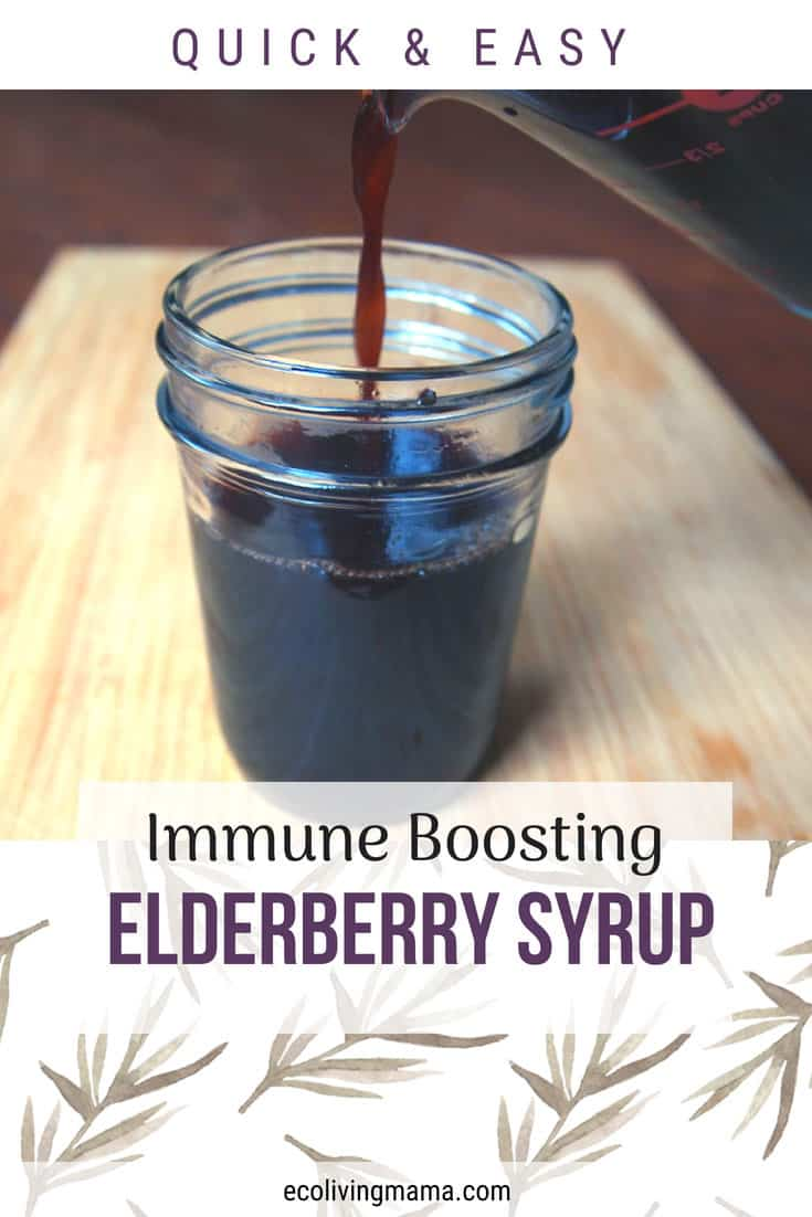 Quick and Easy Elderberry Syrup Recipe to boost immune system and help squash sickness. via Eco Living Mama. #natural #herbs #remedy #remedies #naturalremedy