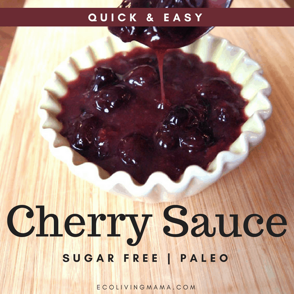 Easy sugar free cherry sauce recipe that is perfect on waffles! #easyrecipe #healthyrecipe #sugarfree #paleo