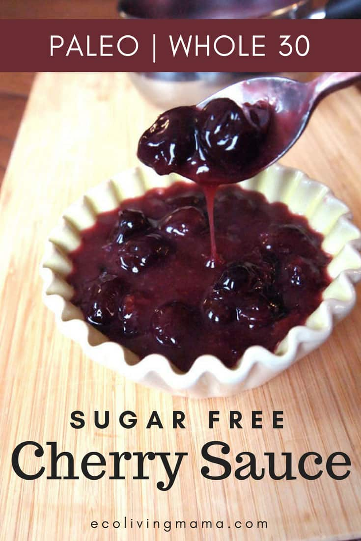 Super Simple, Sugar Free Cherry Sauce comes together in 5 minutes and is a delicious topping for waffles, pancakes or dessert. #easyrecipe #paleo #healthyrecipe