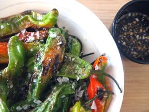 shishito peppers with garlic dipping sauce