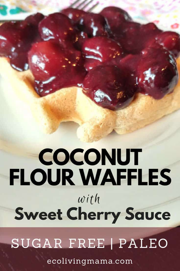 Delicious Coconut Flour Waffles with Sweet Cherry Sauce - everything is completely sugar free! The cherry sauce comes together quickly while the waffles cook. #paleo #sugarfree #healthyrecipes #grainfree