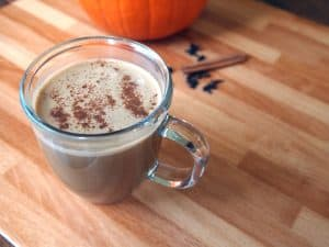 healthy pumpkin spice reishi hot chocolate