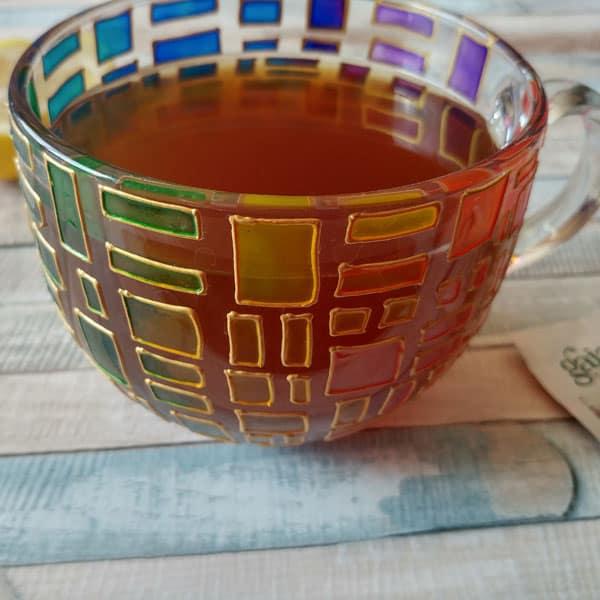 rainbow handpainted glass mug