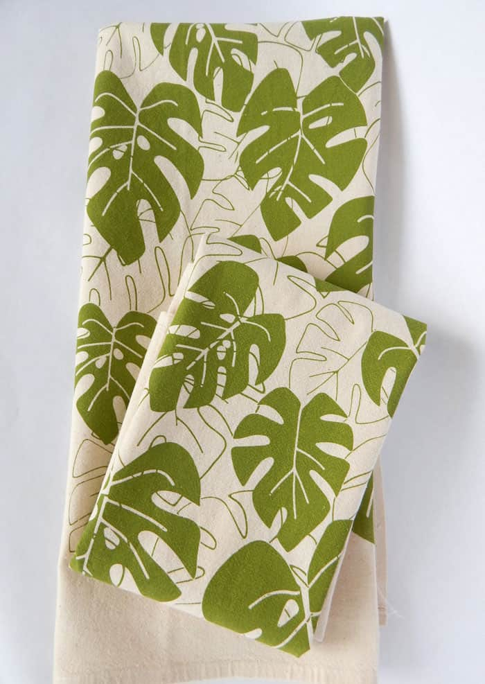 handprinted leaf kitchen towel