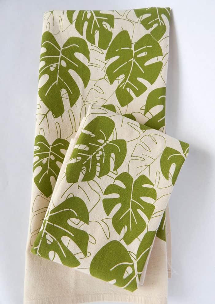 handprinted leaf kitchen towel