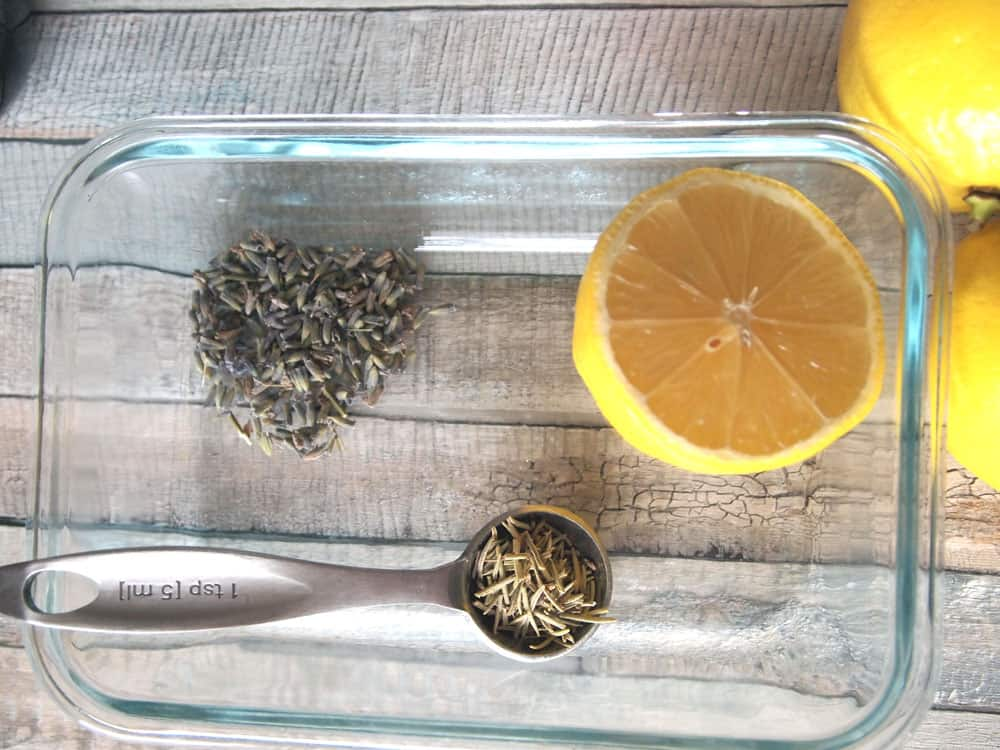 lavender rosemary and lemon in glass dish