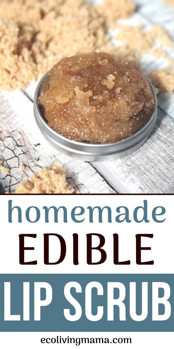 homemade edible lip scrub with brown sugar and coconut oil