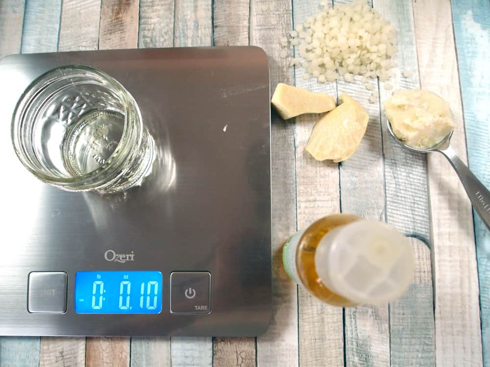 kitchen scale and lip balm ingredients