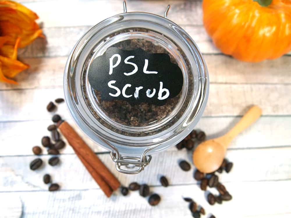 PSL body scrub gift with chalkboard label