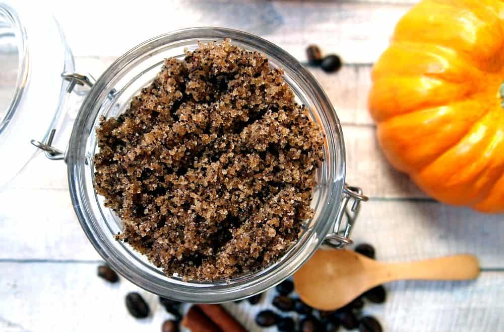 pumpkin spice coffee sugar scrub in jar