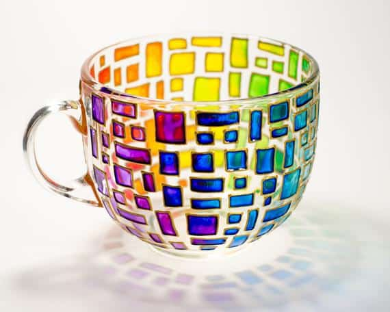 Handpainted Rainbow Coffee Mug