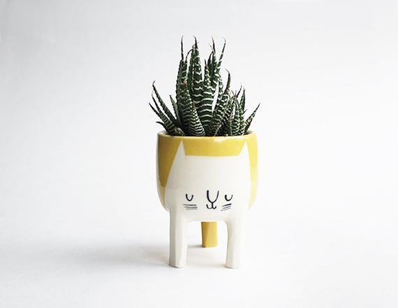 Handmade Three-legged Cat Planter