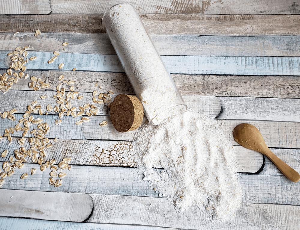 his DIY oatmeal bath recipe is so easy to make and is soothing for irritated or dry skin.